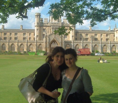 With my sister, at King's College, in Graduation Week