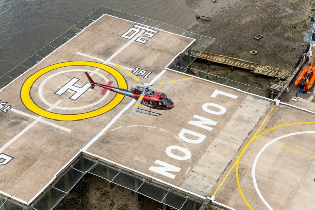TLH_Red Heli at Heliport